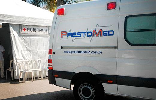 Posto Médico com tenda e UTI Móvel da PrestoMed